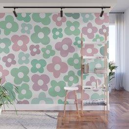 Pink & Mint Flower Power Wall Mural