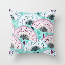 Oriental Hand Fan Pattern Throw Pillow