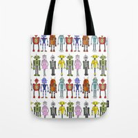 robots Tote Bags featuring Robots by Annabelle Scott