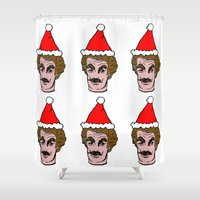 tom selleck Shower Curtains featuring Merry Christmas Tom you by Mary Naylor