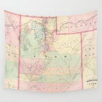 utah Wall Tapestries featuring Vintage Map of Utah (1874) by BravuraMedia