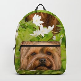 Summer Vibes - Small Yorkie Dog In Spring Forest #decor #society6 #buyart Backpack