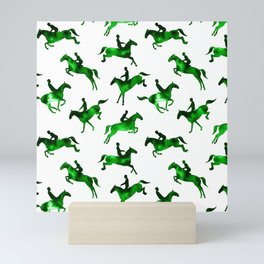 Watercolor Showjumping Horses (Green) Mini Art Print
