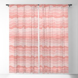 Four Shades of Living Coral with White Squiggly Lines Sheer Curtain