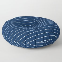 Thin lines white background navy Floor Pillow