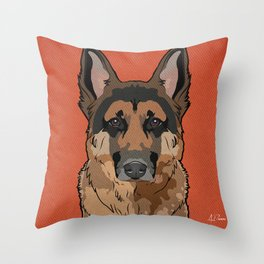 Icons of the Dog Park: German Shepherd Design in Bold Colors for Pet Lovers Art Print Throw Pillow