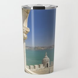 The Torre de Belem tower, view through arches to the river Tejo, Lisbon, Portugal Travel Mug