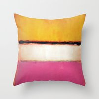 rothko Throw Pillows featuring Mark Rothko - White Center by bosphorus