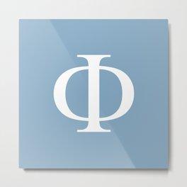 Greek letter Phi sign on placid blue background Metal Print