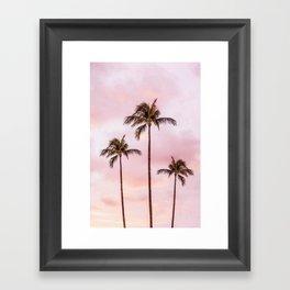 Palm Tree Photography Landscape Sunset Unicorn Clouds Blush Millennial Pink Framed Art Print