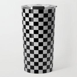 Check Brushed Steel Travel Mug