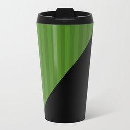 Black, green , striped Travel Mug