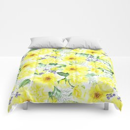 watercolor pattern yellow roses Comforters