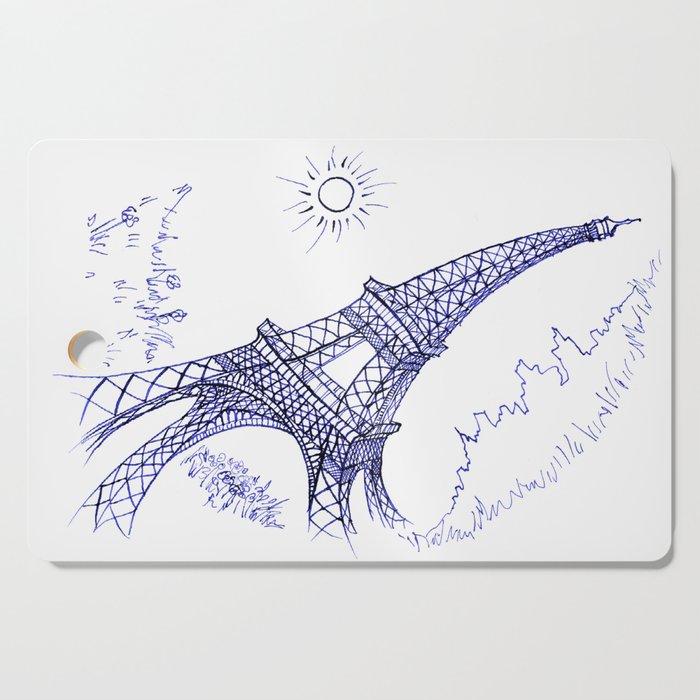 Eiffel Tower in Blue Cutting Board