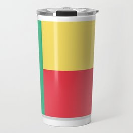 Flag of Benin. The slit in the paper with shadows. Travel Mug