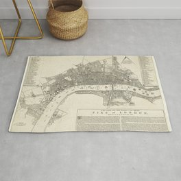 Vintage Great Fire of London Map (1666) Rug