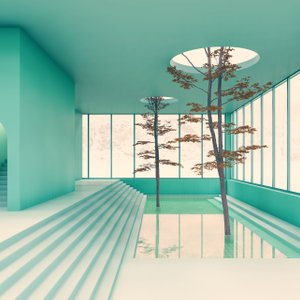 3-D rendered illustration of architecture and trees