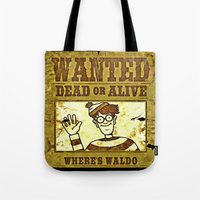 waldo Tote Bags featuring Where's Waldo Wanted Poster by Silvio Ledbetter