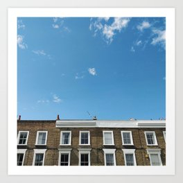 Blue Sky in a Historic Brick and White London Terraced Street Art Print