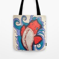 koi fish Tote Bags featuring Koi Fish by Hannah Brownfield Camacho