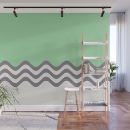 Pastel Green, Gray & Linen White Wavy Stripes 2 Pairs to Coloro 2020 Color of the Year Neo Mint Wall Mural