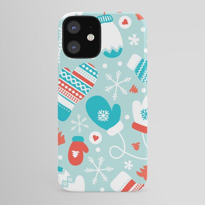 Fun winter wonderland mittens theme design iPhone Case