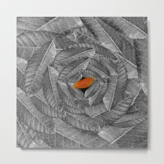 Orange Leaf On Grey And Silver Leaves - Beautiful Background - Autumn mood - #Society6 #buyart Metal Print