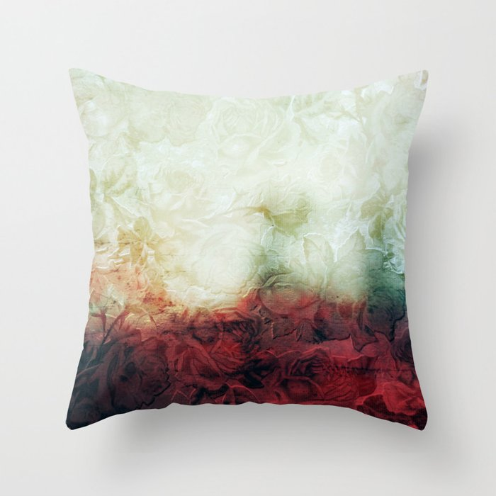 roses landscape Throw Pillow