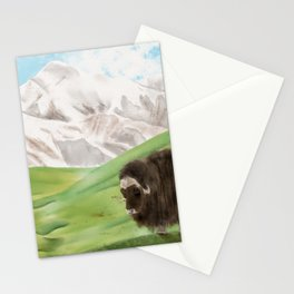 Watercolor Illustration of a yak standing in a green valley Stationery Cards
