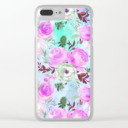 Blush pink lilac lavender teal watercolor roses pattern Clear iPhone Case