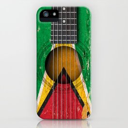 Old Vintage Acoustic Guitar with Guyanese Flag iPhone Case