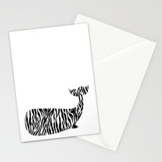 Whale with zebra print Stationery Cards