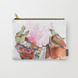 Piano Playing Alligator in a Floral Blazer, with Backup Singing Birds Carry-All Pouch