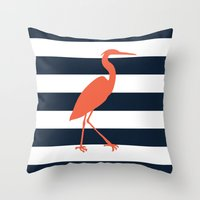 crane Throw Pillows featuring Crane by Gathered Nest Designs