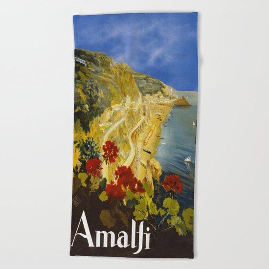 Vintage Amalfi Italy Travel Beach Towel