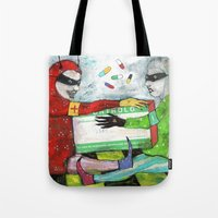 pills Tote Bags featuring Pills by Franck Chartron