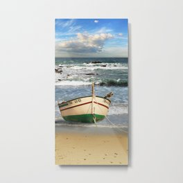 The fishing boat on the beach Metal Print