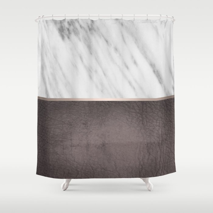 Manly Carrara Italian Marble Shower Curtain By Cafelab