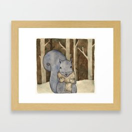 squirrel in the woods Framed Art Print