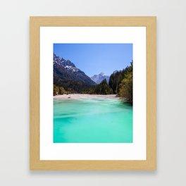 Stunning turquoise water in Kranjska Gora, Slovenia Framed Art Print