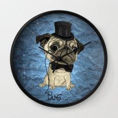 Pug; gentle pug (color version) Wall Clock