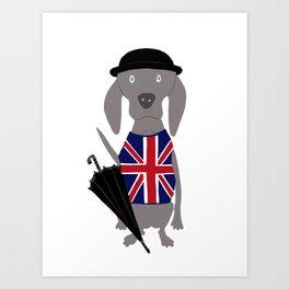 Brit Weim British Grey Ghost Weimaraner Dog Hand-painted Pet Drawing Art Print