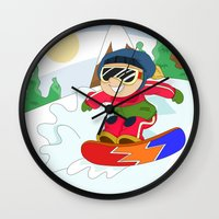 snowboarding Wall Clocks featuring Winter Sports: Snowboarding by Alapapaju