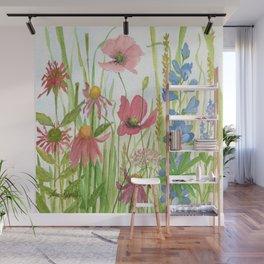 Watercolor Garden Flower Poppies Lupine Coneflower Wildflower Wall Mural