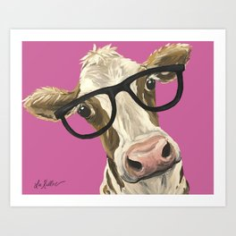 Pink Cow with glasses art, Cute Cow With Glasses Art Print