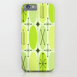 Atomic Era Ovals In Rows Chartreuse iPhone Case