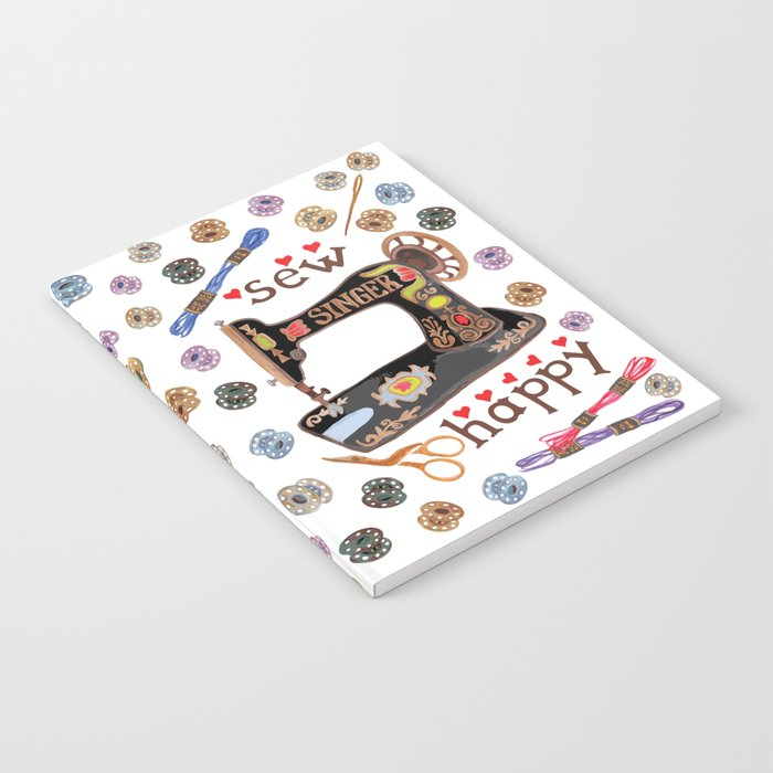 Sew Happy Vintage Singer Machine and Bobbins Notebook