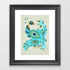 Peacock – Turquoise & Gold Framed Art Print