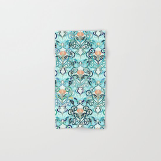Ocean Aqua Art Nouveau Pattern with Peach Flowers Hand & Bath Towel