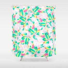 Modern pink turquoise yellow floral illustration spring summer hand drawn pattern Shower Curtain